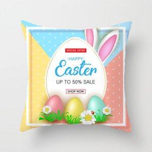Cojín de Pascua cubre conejo con huevo Decoración para el hogar Cubiertas de almohada Pascua Digital Conejito Conejito Caja de almohada 18 * 18 pulgadas ZZC4395
