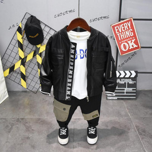 3PCS WLG boys fashion clothing set kids spring autumn black PU jacket white letter patchwork t shirt and black pant set children