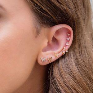 Minimal Narin DAINTY Küçük Tiny Saplama 100% 925 Ayar Gümüş Sevimli Güzel Renkli CZ Kelebek Küpe Kızlar için