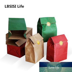 LBSISI Life 5 10pcs Kraft Paper Bags Christmas Cookie Gift Bags Food Candy Packing Decoration Party Favor Stand Bags With Stick