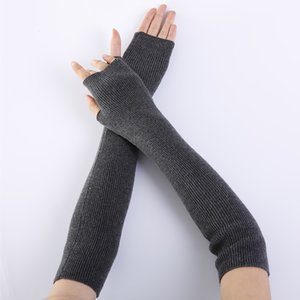New Women Finglerless Gloves Pure Color Fine Yarn Soft Fashionable Warm Open Finger Gloves Women Cashmere Half Finger Arm Sleeve