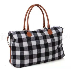 Buffalo Plaid Handbag Large Capacity Travel Weekender Tote with PU Handle Checkered Outdoor Sports Yoga Totes Storage Duffel Bags OA6397