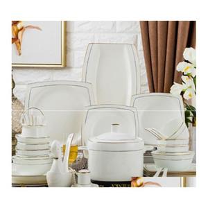 60 Chinese Style Bone China Tableware Set Dinnerware Set Gold Inlaid Jade Trace Gold Simpli jllWLf dh_niceshop