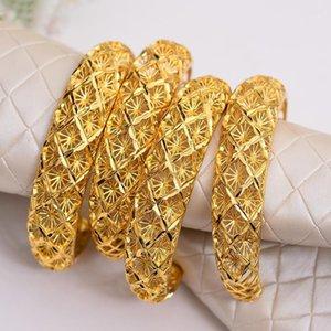 Annayoyo 4 stücke 24k Gold Farbe Arabische Äthiopien Armbänder Armreifen Für Frauen Armband Schmuck Großhandel Ramadan Weihnachten Halloween1