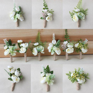 Artificial Flowers Buttonhole Wedding Groom Boutonniere Corsage Bracelet Bridesmaid White Pink Silk Flowers Brooch Marriage Pins