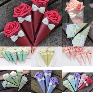 Flowers Rose Paper Cono Forma Bowknot Diamond Vary Color Casies Boxes Tavolo da sposa Decor Decor Decor Confezione regalo del partito 5 NNJH2