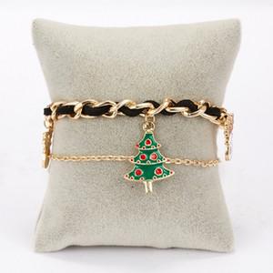 Christmas Bracelet Santa Claus elk Christmas tree chain double layer Bracelet woven Bracelet Party Gift 5style T500455