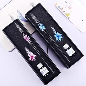 Art Writing Signatures Calligraphy Decoration Flower Crystal Lampwork Glass Pen with Colorful Inks Murano Glass Dip Pen Ink Set with Holder