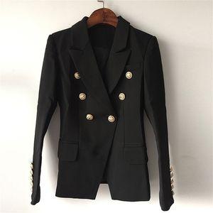 TOP QUALITY New Fashion 2020 Designer Blazer Jacket Women's Double Breasted Metal Lion Buttons Blazer Outer size S-XXXL LJ200815
