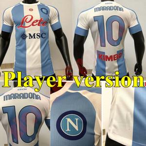 20 21 Spielerversion Napoli Gedenken von Maradona Fussball Jerseys 2021 Viertel Away Mertens Maillots de Football Hamsik Milist Football Shirt