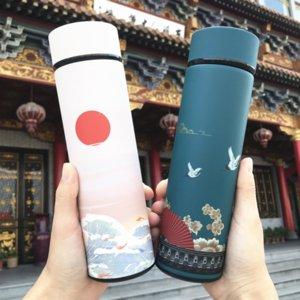 Lzauk Guochao Chinesischen Stil Kreative Temperaturanzeige Neue Typ Thermos Thermos-Wasser-Isolierbecher Edelstahl Wasserbecher