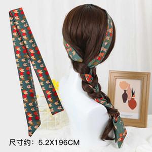 Small silk scarf, streamer, headband, female braided hair, tied hair ribbon, retro wild forest holiday headband