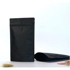 100 PCS Matte Black Stand up Feuille d'aluminium Feuille de fermeture à glissière Forfait Pochette Packaging Doyypack MyLar Sacs de stockage DLVI5