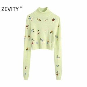 Zevity Frauen Mode Rollkragenkragen Blume Stickerei Strickpullover Damen Langarm Lässige Slim Pullover Chic Tops LJ201126