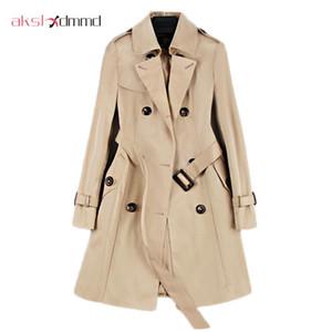 2020 de Moda de Nova Abotoamento Mid-casaco longo Mulheres Khaki Magro Belt Manto Mujer Windbreaker Feminino Abrigos Brasil LH810 Trench
