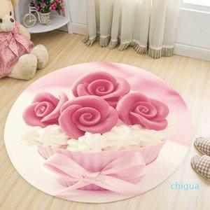Rose Cake Printing Mat 3D Food Pattern Wholesale New Circular Carpet Hammock Dessert Shop Floor Decoration Bedroom Anti-slip Mat Round Pad