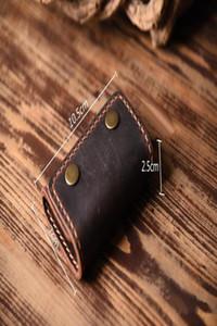Vintage Handmade Genuine Leather Key Holder Men Leather Key Wallet Keychain Men Housekeeper Women Key Case Bag Organizer H jllgVp
