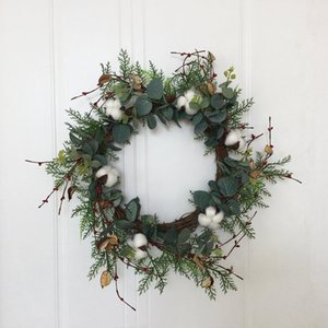 Natural Cotton Dried Artificial Flower Wreath Simulation Flower Wreath Christmas Decoration Home Door Hanging Decor