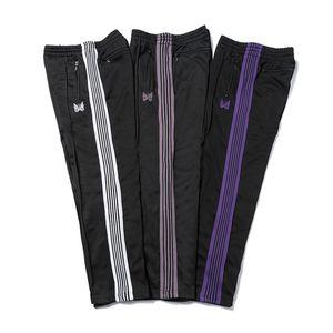 Aghi 3 colori moda pantaloni a sweat butterfly ricamato striscia laterale uomo donna lungo pantaloni coulisse pantaloni high street