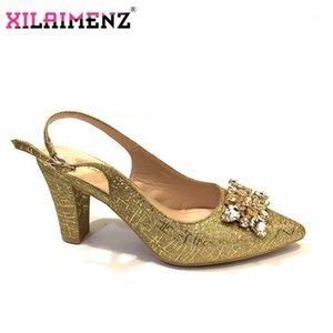 جديد وصول المرأة الذهب اللون 2021 الصيف نمط الصنادل ل الأفريقية منخفضة الكعب أحذية الزفاف تصميم الإيطالية الصيف حزب مضخات 1