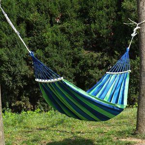 Portable Hammock Outdoor Hammock Garden Sports Home Travel Camping Swing Canvas Stripe Hang Bed Single People