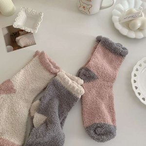 female coral velvet towel winter Plush thickened floor home warm sleep month cartoon thigh high Socks boot leg warmer for women Sale