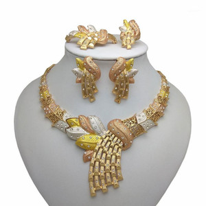 Kingdom Ma New Necklace Earrings Ring Jewelry Sets Multicolor Bridal Wedding Dubai Gold Color Big Jewelry Sets for Women1
