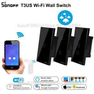 Sonoff T3 intelligent Wifi Wall Light US Commutateur Noir 120 Type Avec Border 1/2/3 Gang 433 RF / APP / Touch Control Works avec Google Accueil