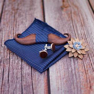 3D Black Walnut beard Wooden Bowtie for Mens Wedding Papillon Corbatas Printed Wood Bow Tie Handkerchief Set for Mens Suit 201028