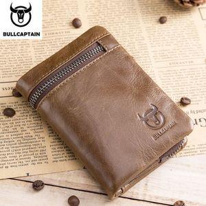 BullCaptain Colrehour Tri-Fud пряжка молния мужская корова кожа кожаный кошелек монеты кошелек денежный мешок визитная карточка RFID владелец Q1220