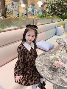 Meninas da forma vestido de camisola 2020 Inverno Sweet Baby Knit vestidos longos criança Girl Dress Crianças Tops Sólidos