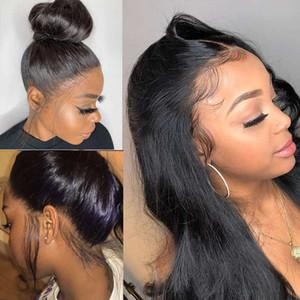 Pré-Plucke complet pour les femmes noires brésiliennes droites Head Hair Wigs 360 dentelle perruque frontale HD