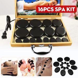 16 parts   combination Massage Stone tool stone hot hand massage stone heating kit 220 V     110 V bamboo heating box