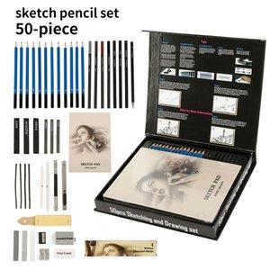 50pcs Kroki Kalemleri Seti Profesyonel Sanat Ahşap Okulu Öğrencileri Manga Hat Aracı Q1107 Boyama için Kalem Kalem Seti Çiz Malzemeleri