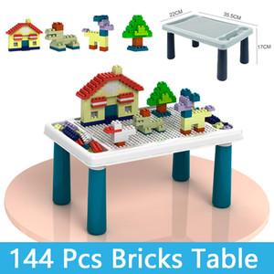 Blocks Table Bricks Table With 144 Pcs Bricks Model Building Kits Classic Compatible DIY Bulk Educational Toys For Children Kids Boy Girl