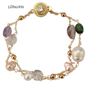 high quality colorful Retro Women Natural stones freshwater pearl Double layer Bracelet jewelry birthday gift 14K Gold-plated1