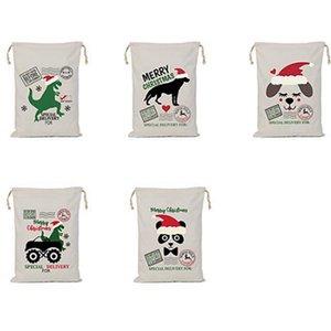 Christmas Gift Bag Santa Sack Drawstring Bags Canvas Santa Sacks Storage Print Gift Bags Xmas Decoration Sea Sshipping IIA746