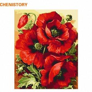 CHENISTORY Acryl Bild Rote Blume DIY Digital Painting By Numbers Wohnkultur Moderne Wand-Kunst-Leinwand-Malerei Wandkunstwerk Kopk #