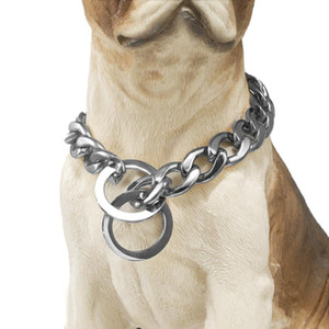 New Design 15mm 12~32 inch Gold Silver Color Curb Cuban Pet Link Stainless Steel Dog Chain Collar Wholesale Pet Necklace
