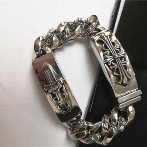 cadeia de designer artesanal antigo ligação prata aço inoxidável ChromeHeart vintage jóias European American pulseiras espada cruzada para homens