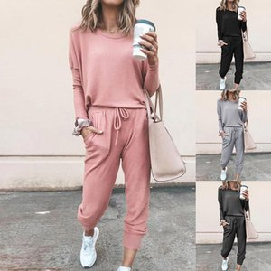 Womens Spring 2Pcs Tracksuits Set Sport Lounge Wear Ladies Casual Tops Pant Suit,Outwear for Jogging Gym Exercise 201119