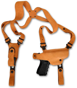 Premium Suede Leather Shoulder Holster with Single Magazine Carrier fits Glock 43X Subcompact 9mm 3.41