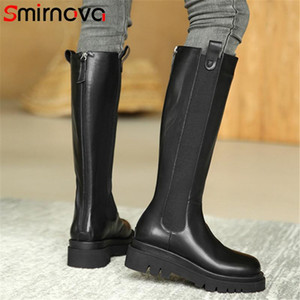 Smirnova Genuine Leather Shoes Women New Knee High Boots Round Toe Autumn Winter Fashion Thick Bottom Women's Motorcycle Boots