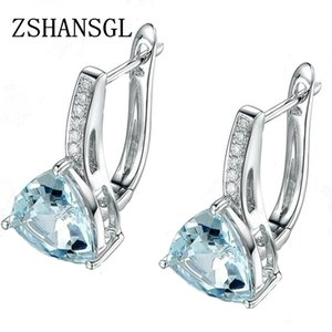 Love Heart Light Blue CZ Zircon Stud Earrings For Women Sliver color Wedding Earrings Fashion Jewelry Gifts for Her