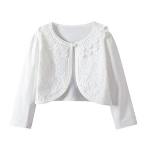 Baby Girls Lace Cardigan Coats Solid Color Flowers Princess Bolero Shrug Tops Long Sleeve Outwear Toddler Kids Clothes 2-9T A20