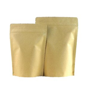 Wholesale Brown Foil Stand-up Heat Sealable Resealable Zip Pouch, Kraft Paper Food Storage Packaging Bag With Tear jllAyD mywjqq
