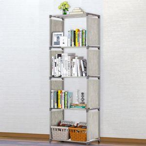 5-estantería Librería Gris Estantes de Libros Tubos de hierro Telas No tejidas Bookshelf Storage Barjetas de almacenamiento Libros Display Mostrar Unidad Organizador Rack