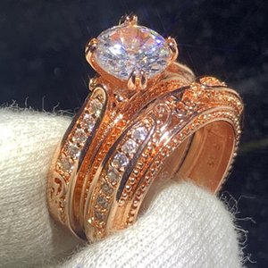 Vintage Fashion Jewelry 925 Sterling Silver&Rose Gold Fill Round Cut Clear White Topaz CZ Diamond Gemstones Women Wedding Bridal Ring Set
