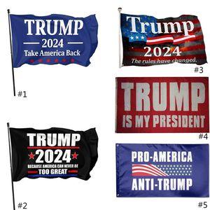 3 * 5FT 2024 Флаг Трампа 90 * 150см США Президентские выборы Флаг полиэстер Материал Трамп 2024 Флаги 5 Стиль бесплатный DHL Ship HH21-56