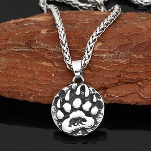 Stainless steel Nordic Viking Amulet Rune small Bear Necklace with valknut gift bag1